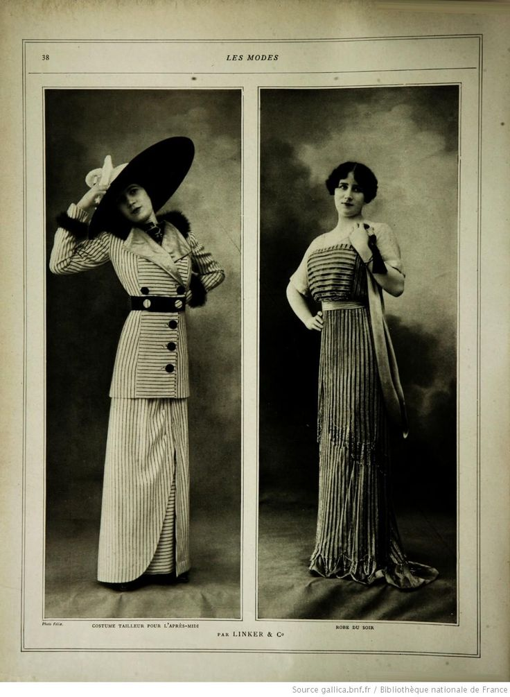 Les Modes (Paris), 1912, Afternoon dress (ahem, BOARDING SUIT!!!) on left and evening dress on right.