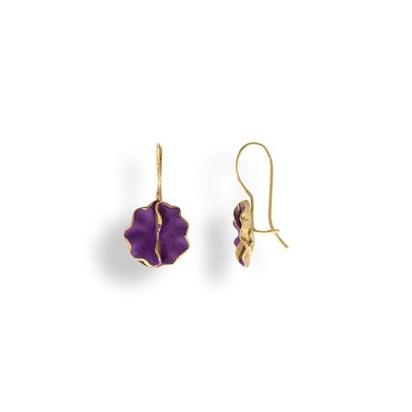 Handmade Gold Plated Silver Purple Flower Earrings - Anthos Crafts - 1
