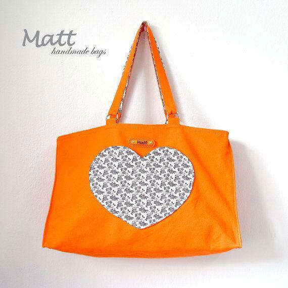 Large orange color canvas tote bag, shoulder bag, Heart shaped pocket bag, cotton full lining, black and white flower accent fabric