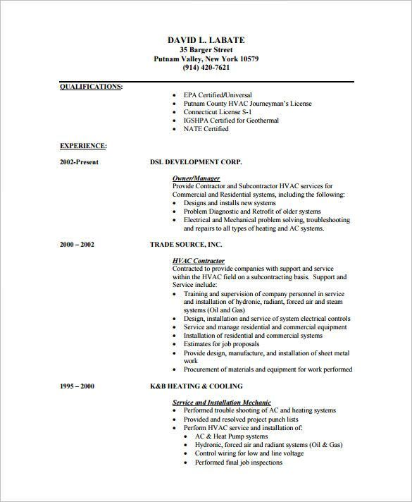 A C Technician Resume Examples ResumeExamples Freeresumetemplates