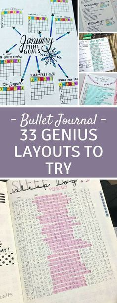 Bullet Journal Spreads - Love these layouts - especially the sleep log!