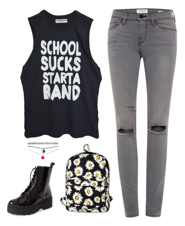 School sucks start a band by lenidasgenie on Polyvore featuring polyvore, moda, style, High Heels Suicide, Frame, Jeffrey Campbell, Motel, Wet Seal, fashion and clothing