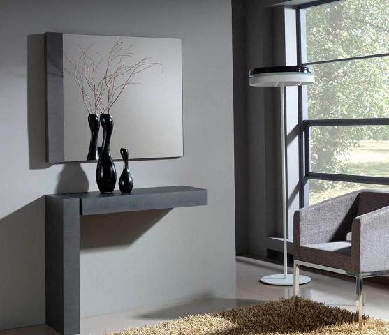 Recibidor en gris. Descubre nuestro catálogo de muebles en nuestra web