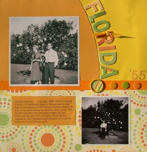 Travel and Vacation Scrapbook Page Layout Ideas: Florida - Jennifer's Travel Scrapbook Page Layout