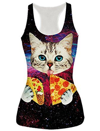 RAISEVERN Womens Galaxy Pizza Cat Printed Casual Sleeveless T Shirt Tank Tops *Click image to check it out* (affiliate link)