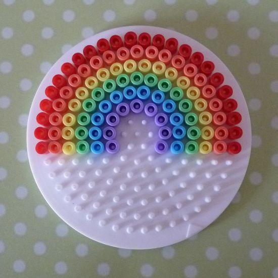 Rainbow Perler Beads Pattern on a Circle Pegboard Hama Fused