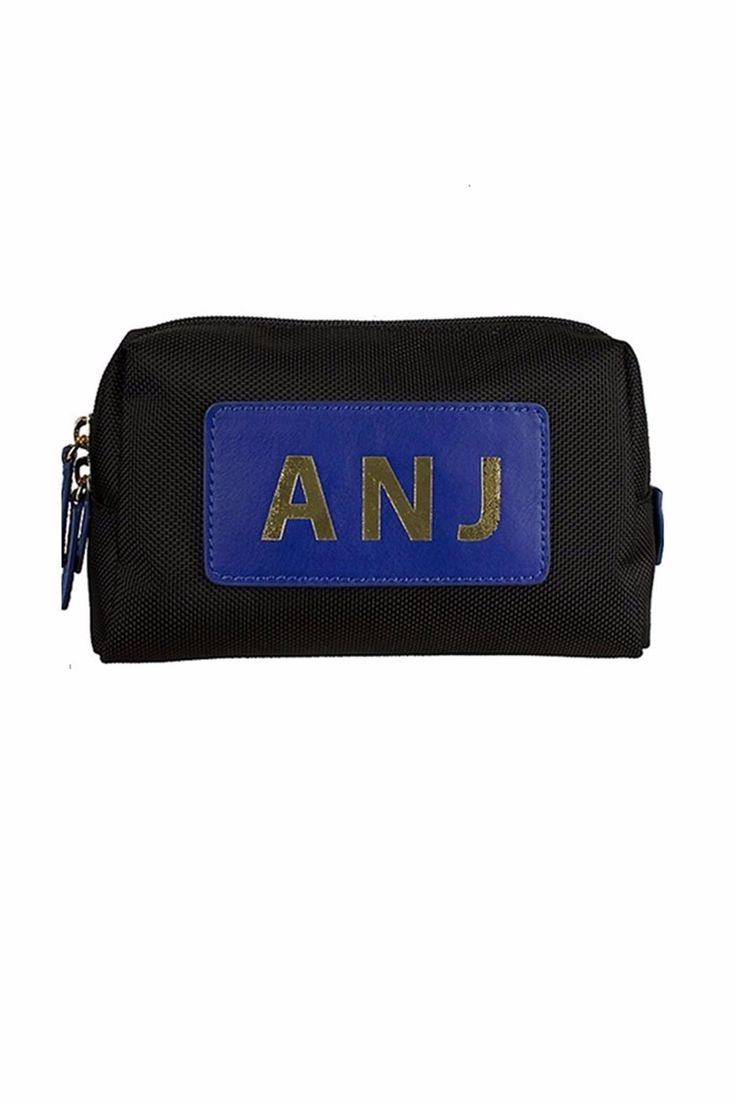 Nylon with a leather patch to place a monogram. With a wide zip-top opening, touch of gold-tone metal hardware, and patterned lining, the Paige Pouch is the perfect on-the-go accessory. For monograms, please email your letters as you would like them to appear from left to right as well as your choice of straight across block (first, middle, last initial) or circle block (first, LAST, middle) font to stylist@shoptiques.com. All monogram items are final sale. Since this is a custom order…