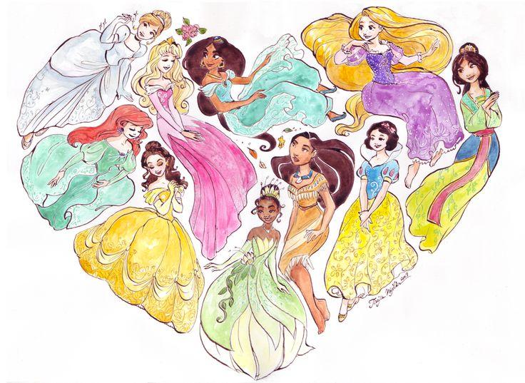 Cendrillon, Ariel, Aurore, Belle, Tiana, Pocahontas, Jasmine, Raiponce, Blanche-Neige et Mulan en cœur.