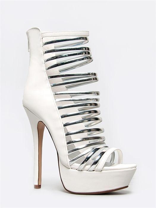 NEW SPEED LIMIT 98 Women Sexy Metallic Strappy High Heel Sandals sz White Amount #SpeedLimit98 #Strappy eBay US$55.00 = AUD$58.61 Shipping US$40.00 AUD$43.60