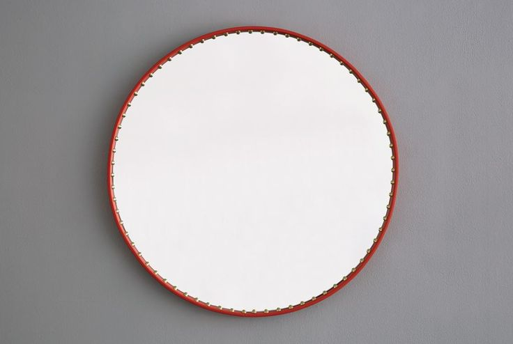 Leather and studded mirror coral and brass http://bethangray.com/products/stud-round-mirror