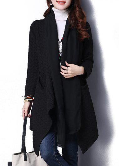 Asymmetric Hem Black Long Sleeve Pocket Coat  on sale only US$30.73 now, buy cheap Asymmetric Hem Black Long Sleeve Pocket Coat  at liligal.com