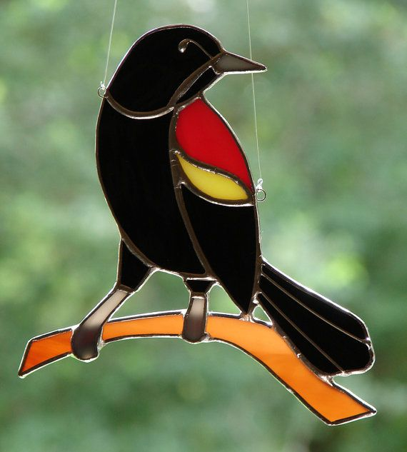 Red Winged Blackbird by theglassmenagerie on Etsy