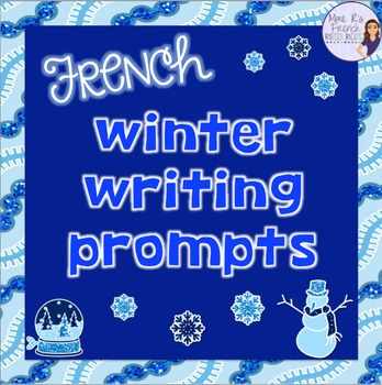 These writing prompts with winter vocabulary are a perfect way to add a bit of seasonal vocabulary into your French class.You'll get:1 vocabulary list of common winter words10 writing prompts with displayable writing pages in color and black and white1 acrostic poem in color and black and whiteThese would be great for: - when you have one class ahead of the others. - students to work on after a quiz. - enrichment for fast workers. - when you need a nice-looking writing assignment to…