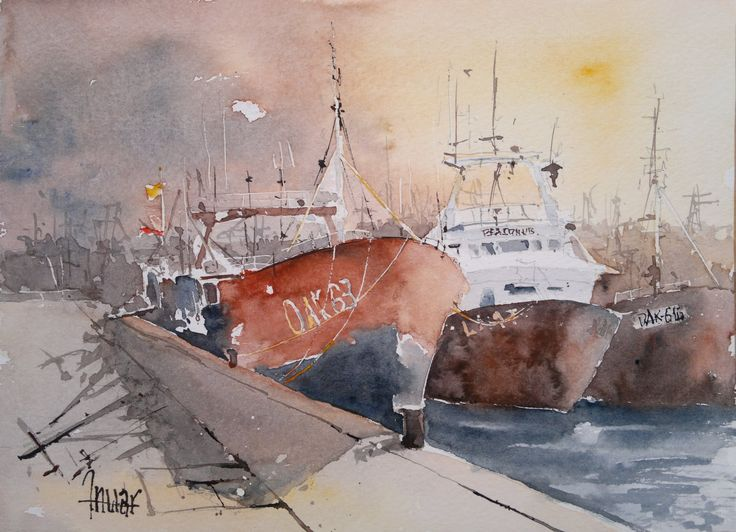 Barco en el muelle al amanecer