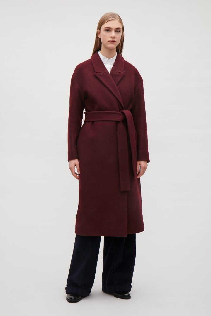 COS image 1 of Belted wool coat  in Burgundy