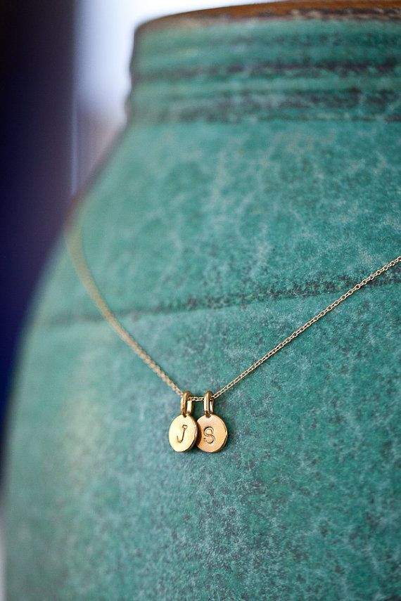 77€ goede kwal Personalized Two Charm Necklace 2 Charms Tiny Initial door annekiel