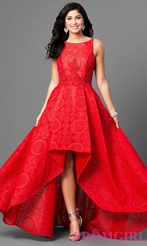 Long Red High-Low Lace Prom Dress
