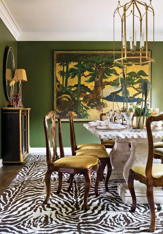 olive green decor // dining room
