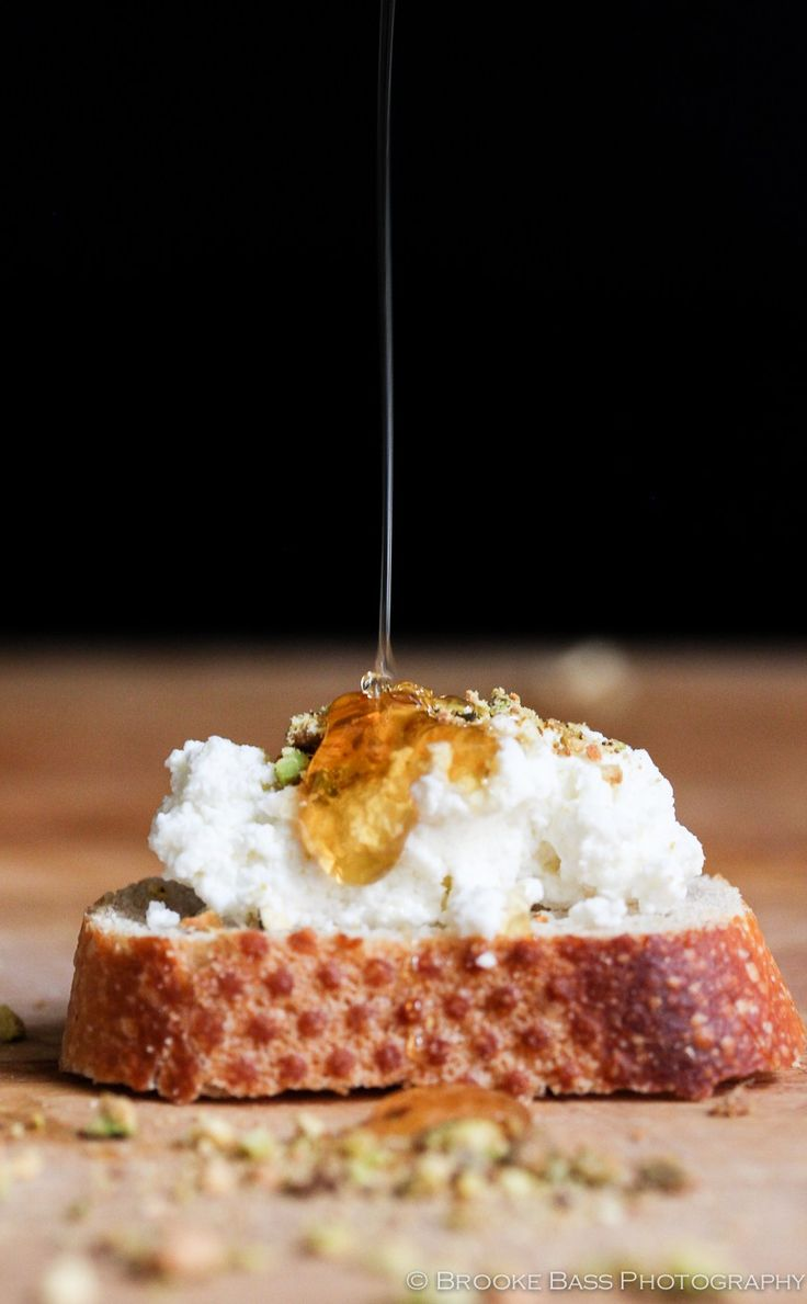 Fresh Ricotta Crostini with Honey and Pistachio
