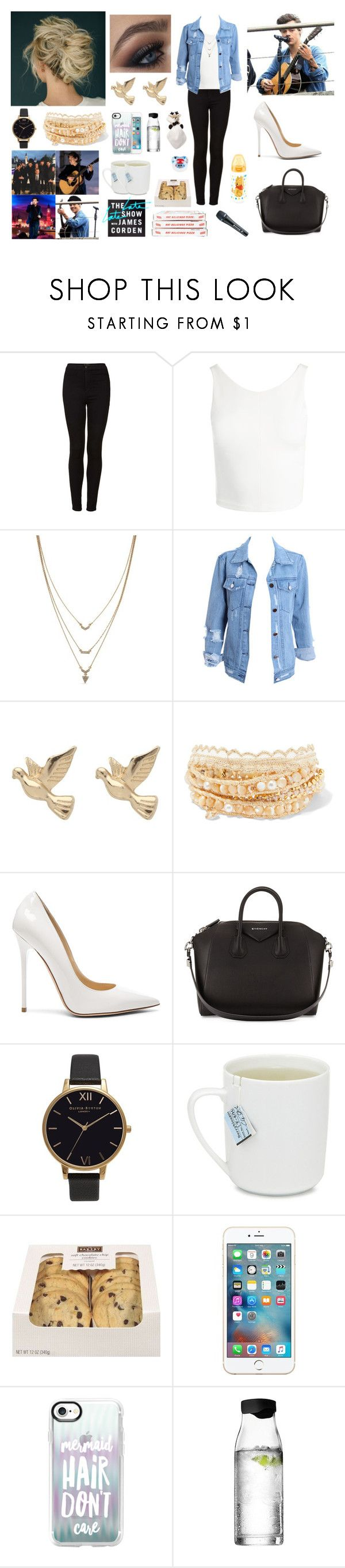 """Repetition for Late Late show in London with Harry"" by louisericoul ❤ liked on Polyvore featuring Topshop, Sans Souci, Jessica Simpson, M&Co, Chan Luu, Jimmy Choo, Givenchy, Olivia Burton, Casetify and Menu"
