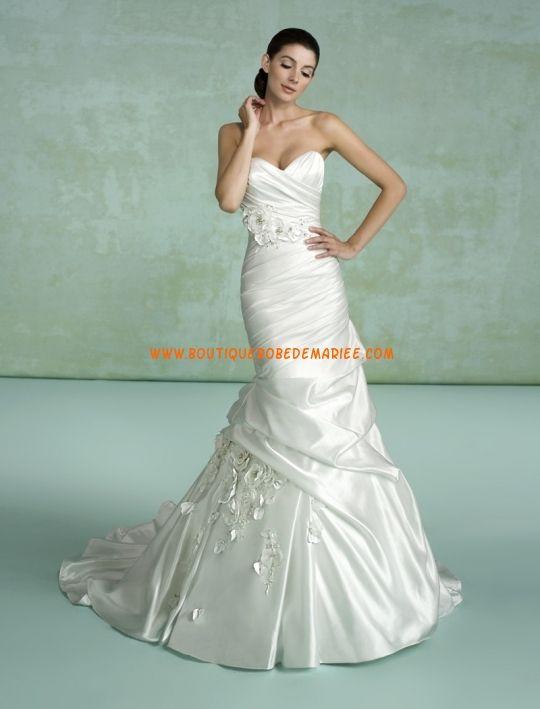 Robe de mariée sirène applique de fleurs