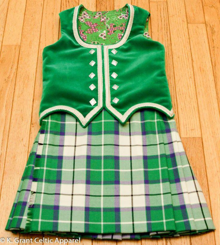 #BonnieEmerald #tartan custom Pre-Premier #kilt & #vest by K. Grant Celtic Apparel in Dorchester, ON, Canada