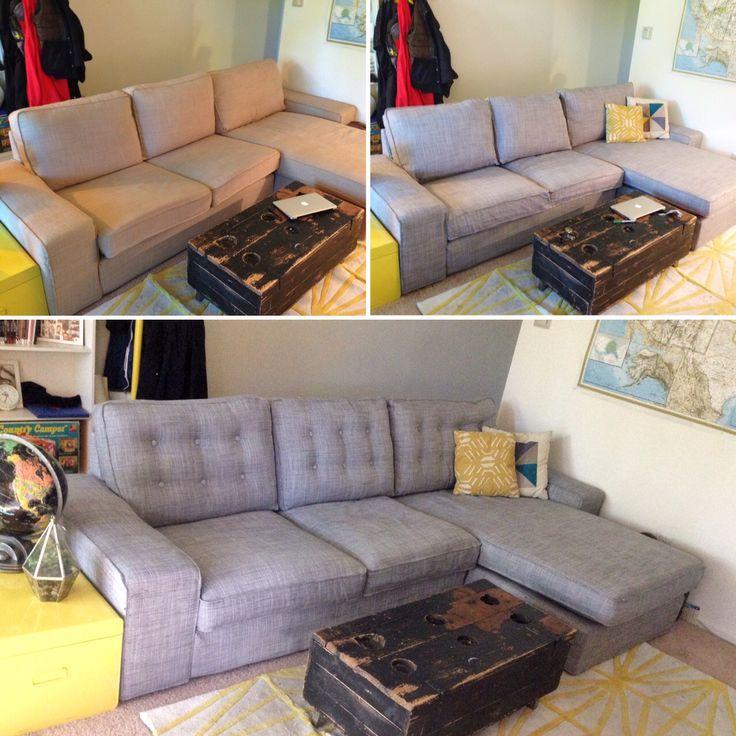 IKEA Kivik sofa DIY. Top left: Isunda beige. Top right: new covers, Isunda gray. Bottom: DIY tufting on the cushions. Looks like a fancy, [almost] mid-century sofa, for a fraction of the cost.