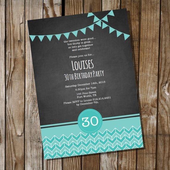 Chalkboard Birthday Invitation with Teal - 16th 30th 40th 50th 60th birthday invitation - Instant Download and Edit with Adobe Reader