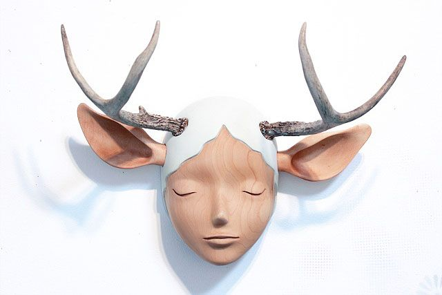YOSKAY YAMAMOTO  -  L A  ||  His sculpture mixes western pop icons with Eastern tradition to create characters that are at times playful and others soulful but with consistent and melancholic expressions, at times asleep and at others gazing right through you.: Modern Art, Yoskay Yamamoto, Art Sculpture, Girls Generation, Antlers Art, Modern Sculpture, Natural Girls, Tags Art, Sculpture Art