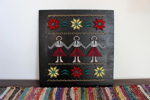 String Art, Romanian traditional motifs,Handmade decoration, Wall Wood Art, Inspiring 3D painting, Dance of joy ,Girls round circle dance,