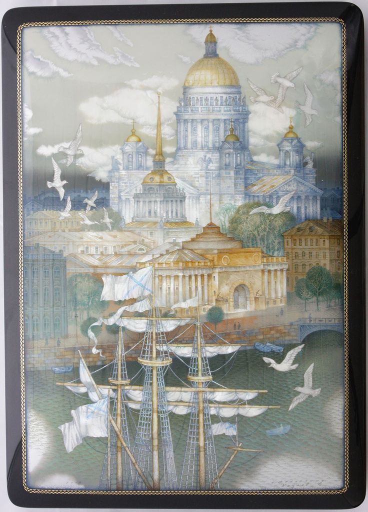 Kozlov Sergey, Fedoskino lacquer box, Sankt-Petersburg, Isakievskii Cathedral, 2015