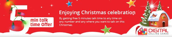 5 min talk time Offer at All Countries on DigitalCallingCards.co.uk You may now call on international numbers anywhere in UK, USA, Canada, India, Pakistan, Bangladesh, Sir Lanka, South Africa and Australia at comparatively cheap calling rates on this New Year.