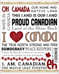 """With close to 100 patriotic-themed templates, you'll find home décor, party supplies and cards honoring our military to help you celebrate the season in style. To add a splash of patriotic color to your home this July, try a framed 11 x 14 poster. """"I LOVE CANADA Subway Art"""" by Heidi Jackson, template 82925."""