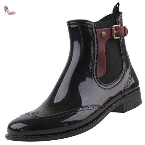 Gosch Shoes Sylt - Femmes Chelsea Bottes en caoutchouc Caoutchouc naturel 7103-502 en 3 couleurs - Femme, noir-bordeaux, 37 - Chaussures mustang (*Partner-Link)