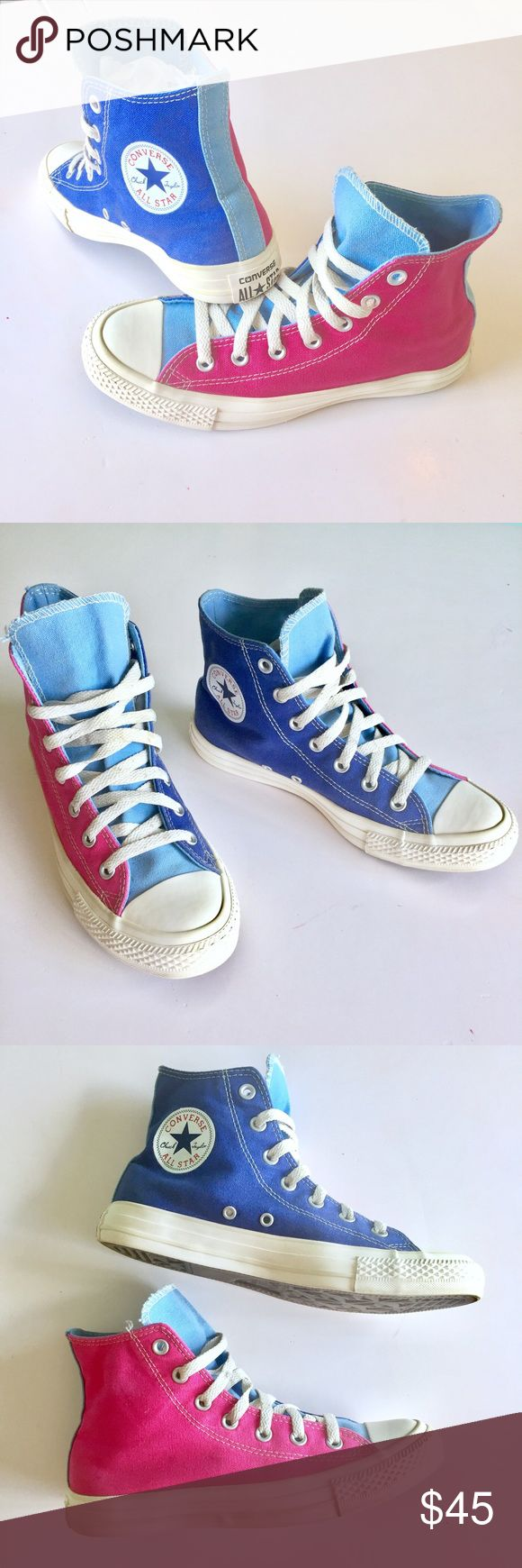 Pink and Blu Converse All Star High Tops Up for sale cool pair of Converse All Star Chuck Taylor High Tops, hot pink and blue color. Size 8. Preowned but are in pretty good condition, canvas might show slight wear, nothing major, please see photos for details. Check out my closet, bundle and give me your offer! Converse Shoes Sneakers