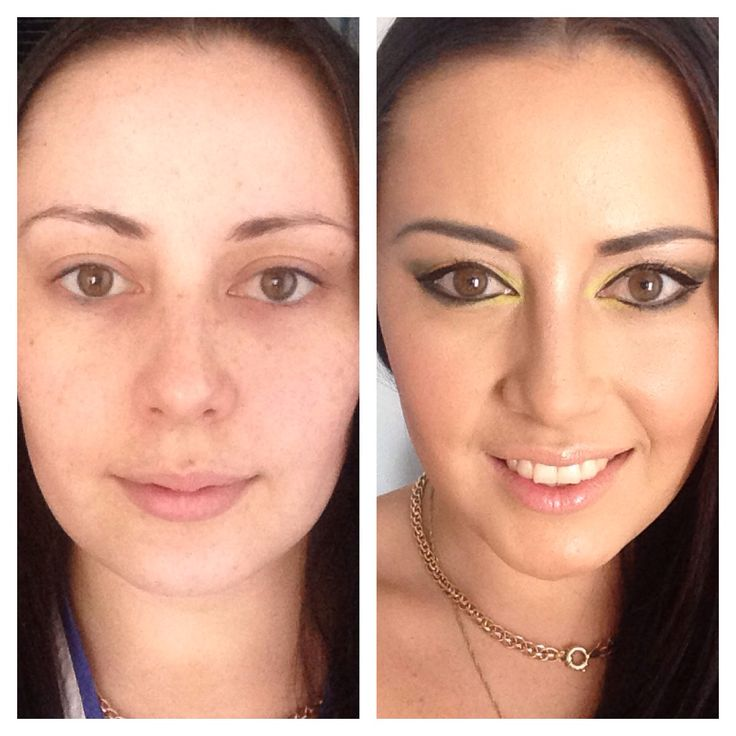 Before and after makeup using kryolan foundation, BYS neon eyeshadow and all the rest of the products by Shiseido.