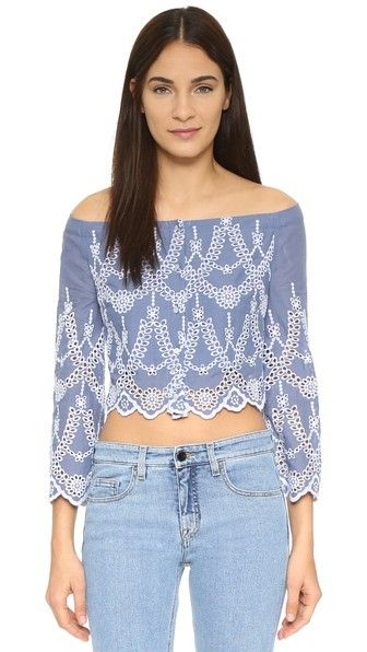 KENDALL + KYLIE Eyelet Off Shoulder Top in Tempest - $138