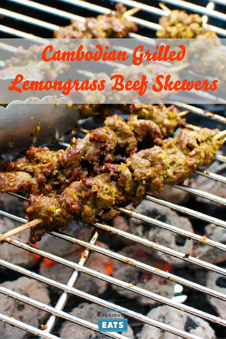 A Cambodian paste of aromatics and spices gives great flavor to these grilled beef skewers.