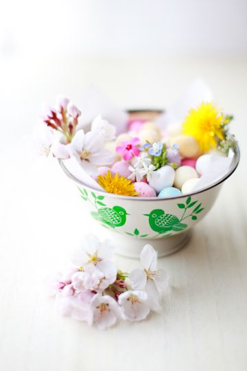 Celebrating Easter Sunday with cherry blossoms and pastel candies. #food #Easter #eggs #candy #spring #cherry #blossoms #spring
