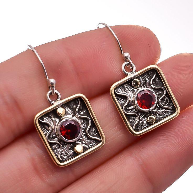 Mozambique Garnet Gemstone Jewelry 925 Sterling Silver TWO TONE Dangle Earrings #Handmade #Earring #Birthday