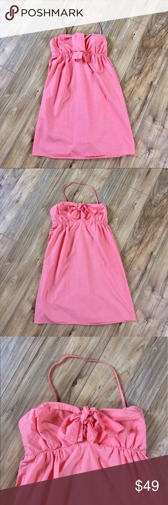 J. Crew convertible strap light coral sundress J. Crew convertible light coral sundress. 100% cotton is machine washable and super lightweight. Halter strap is removable for a strapless look. Worn and washed one time - EUC! J. Crew Dresses Midi