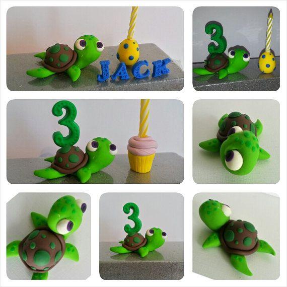 Sea Turtle Birthday Cake Topper- Clay Turtle- Cake Topper
