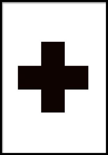 Grafisk plakat med plustegn eller kors.