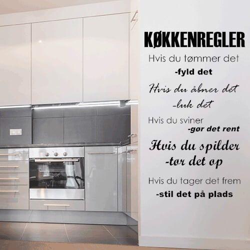 Wallsticker med køkkenregler