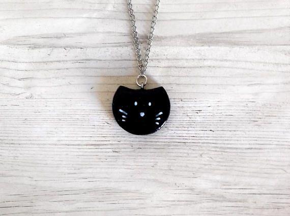 Gatto nero collana moderno porcellana fredda elegante geometrica collane per donna amanti gatti collane lunghe gioielli fashion