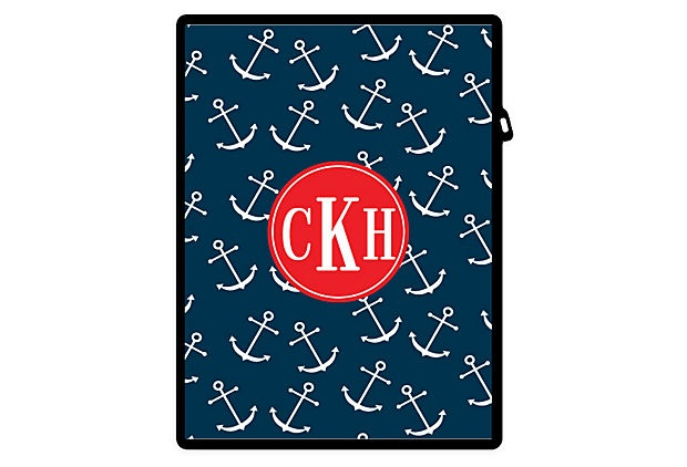 Anchors Away Custom iPad Case, Navy/Red