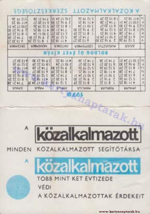 1970 - 1970_0456 - Régi magyar kártyanaptárak