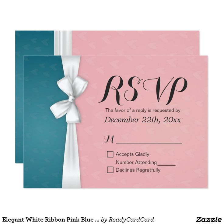 Elegant White Ribbon Pink Blue Wedding RSVP Reply Card