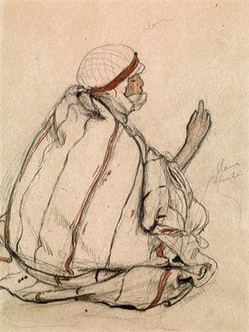 Peinture Algérie - Bédouine assise von Jean Bouchaud