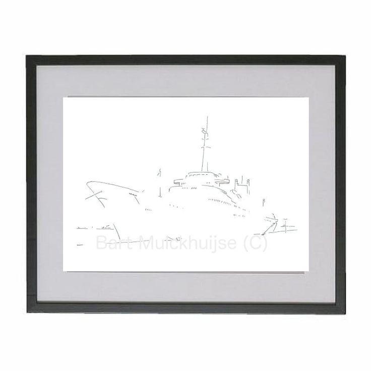 Originele tekening van het Stoomschip Rotterdam door LeidseLijnen op Etsy